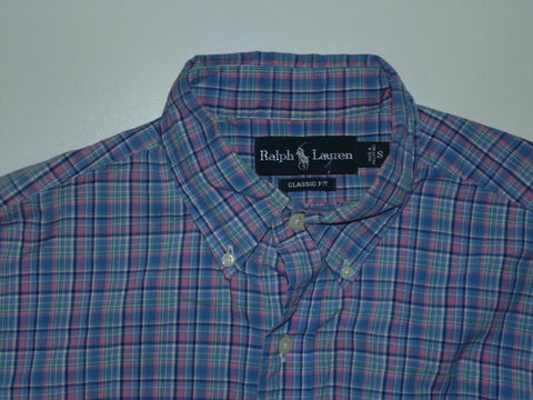 Ralph Lauren blue & pink checks shirt - small mens classic fit - S5716