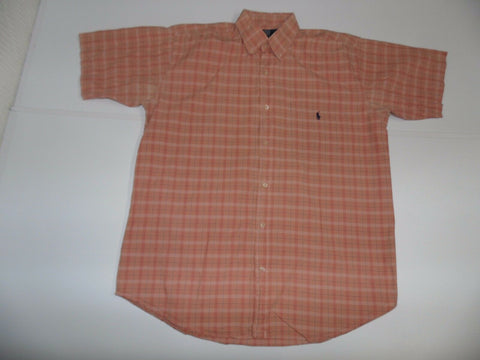 Ralph Lauren peach checks short sleeves shirt - large mens - S5042