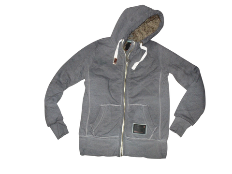Mens Superdry grey zip fur lined hoodie / sweatshirt size small Blackseal - DLJ108-Classic Clothing Crib