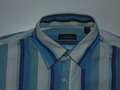 Ted Baker Endurance blue stripes short sleeves shirt, small mens, size 2