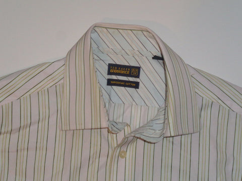 "Ted Baker Endurance green & pink stripes shirt 15.5"" / 39 mens - S5426"