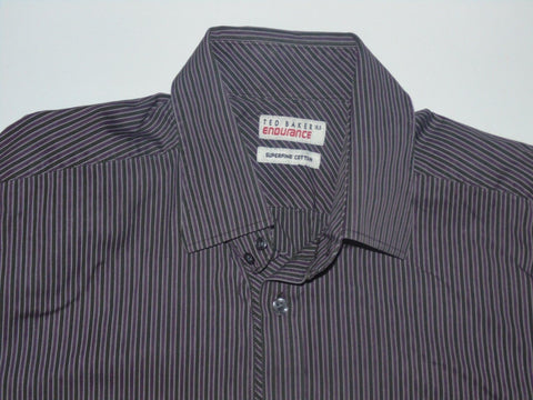 "Ted Baker Endurance purple stripes shirt 16.5"" / Large Mens - S6047"
