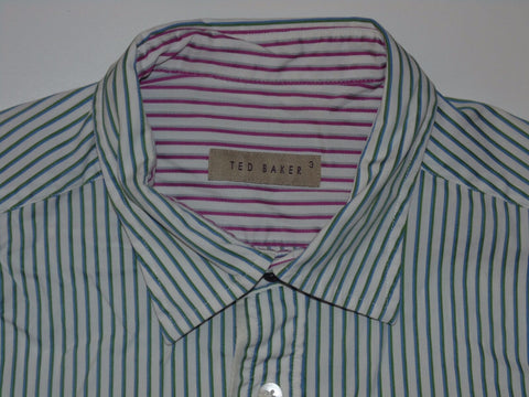 Ted Baker green & blue stripes shirt - medium mens, size 3 stretch - S5246