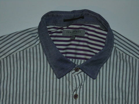 Ted Baker grey stripes shirt - large mens size 4 NEW - S5995