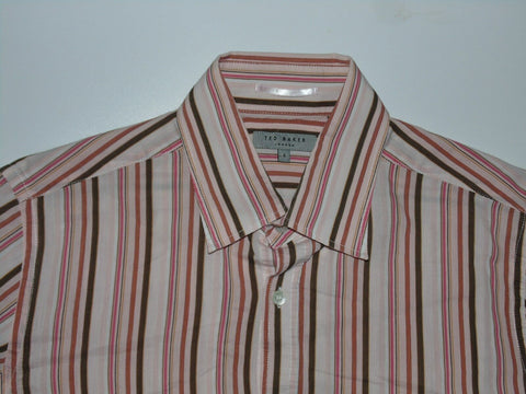 Ted Baker pink stripes shirt - large mens size 4 - S5996