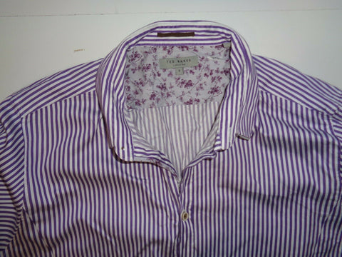 Ted Baker purple stripes shirt - xl mens, size 5 - S6321