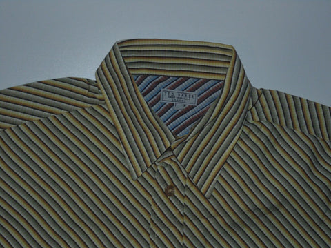 Ted Baker yellow stripes short sleeves shirt, medium mens, size 3 - S5849