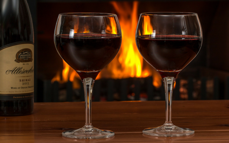 christmas winter wine ideas and fire