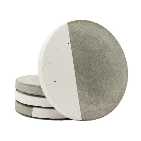 White Concrete Drink Coaster Set