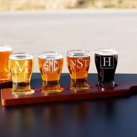 Beer flight and beer tasting glasses