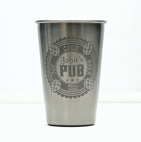 Personalized Stainless Steel Pint
