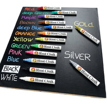 Blami Arts Chalk Pens for Blackboards - Set of 14 Chalkboard Pens with Extra Gold and Silver Liquid Chalk Markers - Non Toxic with Reversible Tips - Eraser Sponge and Chalkboard Labels Included