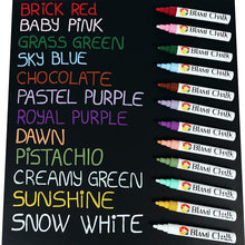 Blami Arts Chalk Markers Pastel Paint Pack, 12 Erasable Chalkboard Markers, Non Toxic Liquid Chalk Pens with Vintage Earth Colors, Reversible Tips - Eraser Sponge Included