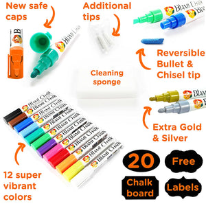 Blami Arts Chalk Markers and Chalkboard Labels Pack - 14 Erasable Liquid Ink Pens, Non Toxic Extra Gold and Silver Colors Included, Reversible Tips