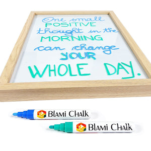 Blami Arts chalk Markers 14 Pack | Chalkboard Labels | Liquid Ink Pens Extra Gold and Silver Reversible Tip | Erasable Neon Bright Non-Toxic Paint for Bistro Glass Windows | Eraser Sponge Included
