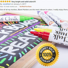 Blami Arts Chalk Markers 14 Pack With Free 20 Chalkboard Labels - Erasable Neon Bright Non-Toxic Paint for Bistro Glass Windows - Extra GOLD & SILVER Liquid Ink Pens - Eraser Sponge included