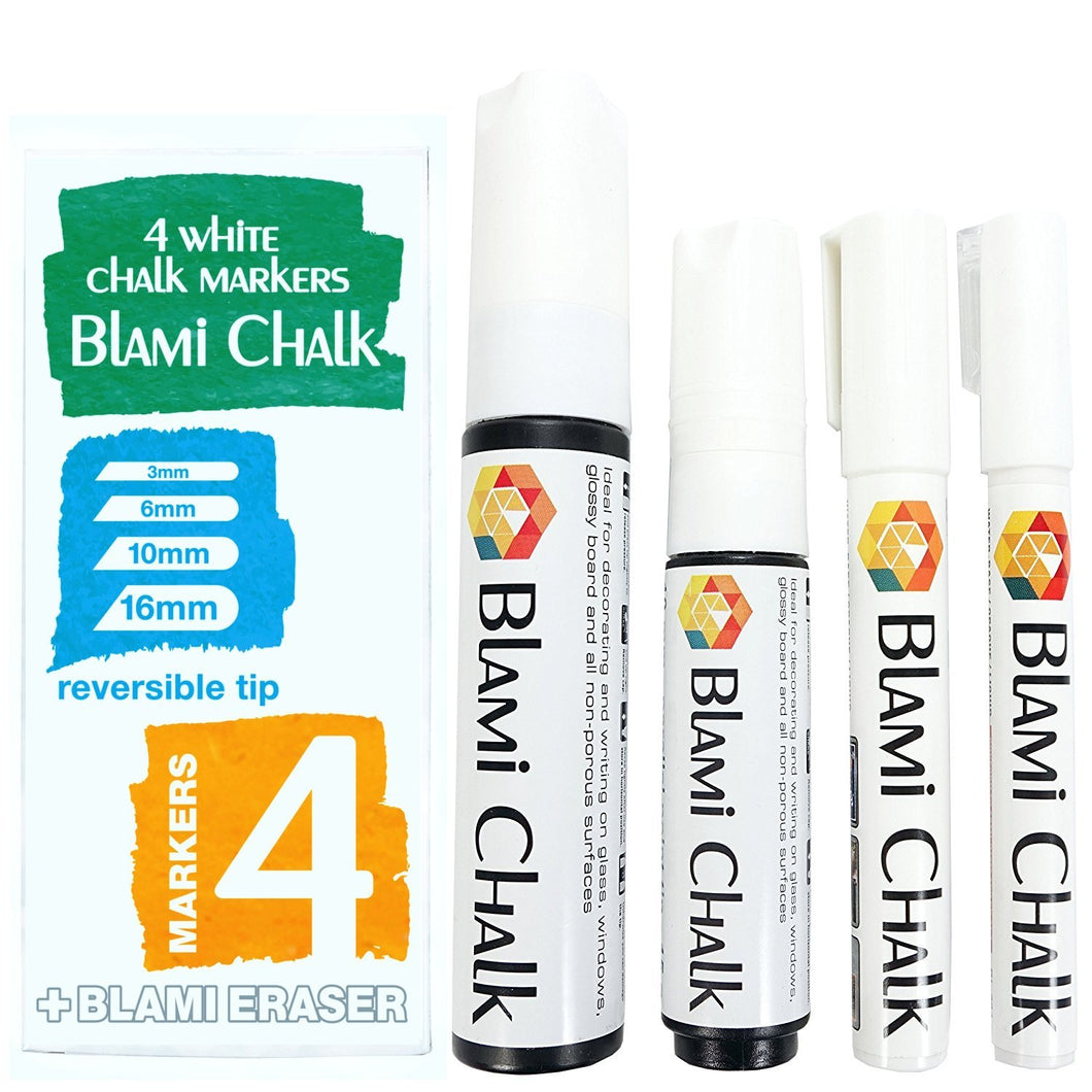 Blami Arts 4 White Chalk Markers with 16mm and 10mm JUMBO Tips and 6mm and 3mm Reversible FINE Tips