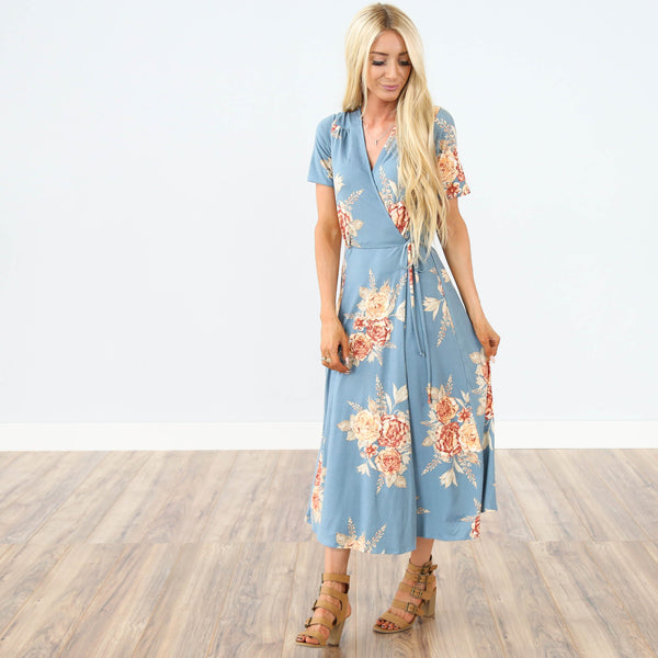Carola Wrap Dress in Chambray