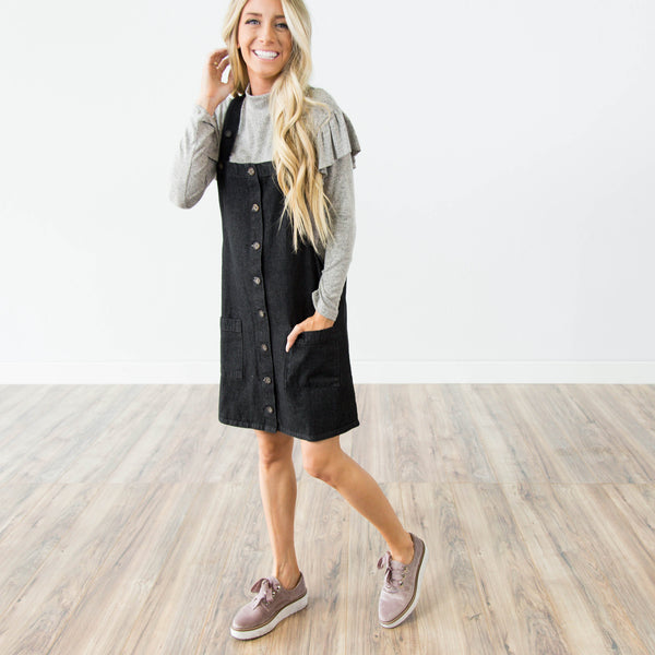 Black Wash Denim Overall Dress