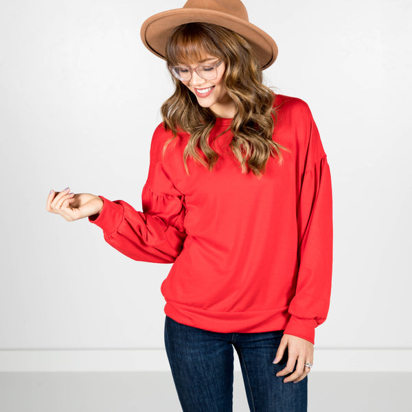 Bubble Sleeve Sweater in Red