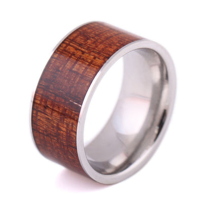 Stainless Steel Ring With  Wood Grain Design