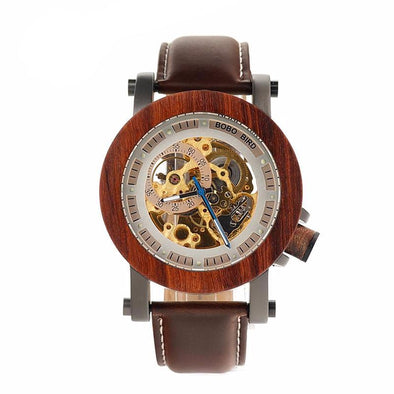 Skeleton Semi-automatic Wooden Watch - streetboyz