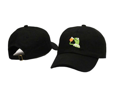 Tea Frog Embroidery Cap
