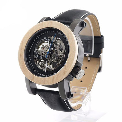 Transparent Semi-automatic Mechanical Wooden Bezel Wristwatch With Leather Band