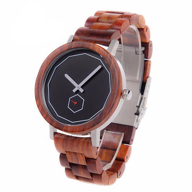 Red Sandalwood Analog Wooden Quartz Watch - streetboyz
