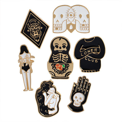 7pcs/set Hard enamel pins Goth punk skull