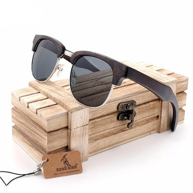 Retro Half-Frame Wooden Sunglasses