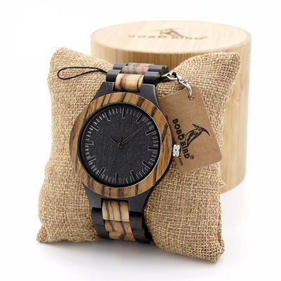 Walnut and Ebony Wooden Quartz Watch with 100% Wood Strap - streetboyz