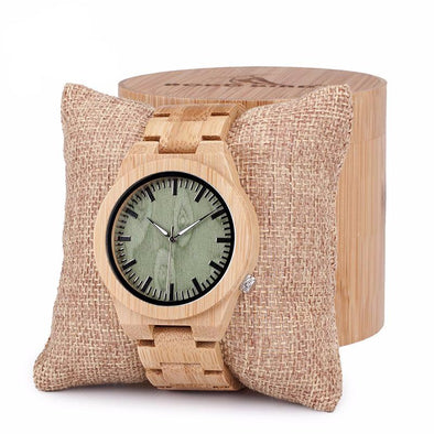 Green Wood Dial Watch with 100% Bamboo Wooden Bands