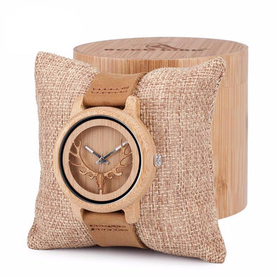 Vintage Deer Head Skeleton Design Bamboo Wood Watch - streetboyz