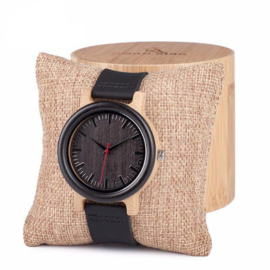 Wooden Quartz Watch with Leather Strap