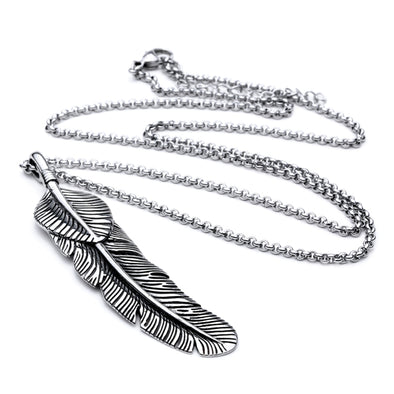 Stainless Steel Retro Feather Pendant Necklace