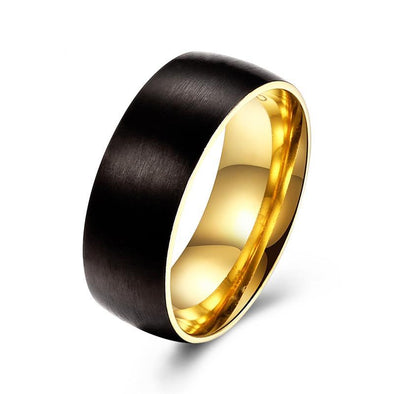 Classic Round Gold Plated / Black Brush Ring