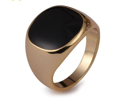 Classic Gold-color Men Ring Black Enamel Painting