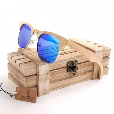 Retro Semi-Rimless Wooden Sunglasses UV40