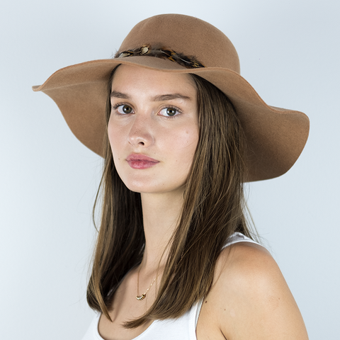 Camila Round Felt Hat with Feather Band
