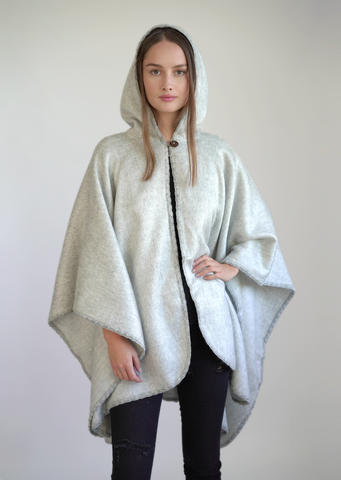 Alpaca Wool Cape Poncho with Hoodie