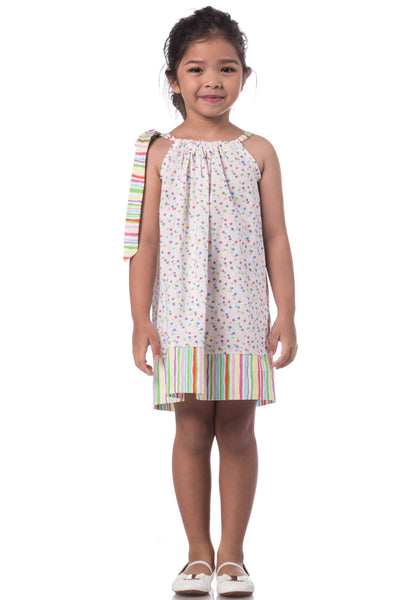 Printed Pillowcase Dress - Rainbow blanc