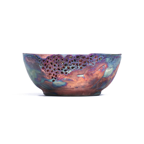 Bowl With Motif - Copper Raku