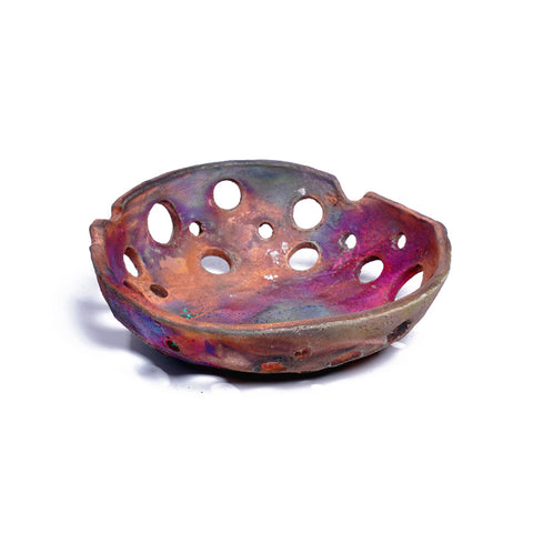 Bowl With Holes - Copper Raku
