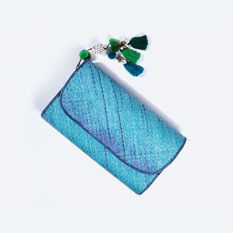 Blue Lagoon Pandanus Kelarai Clutch with Tassel - Design 1