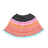 Hmong Pom Pom Skirt - Light Blue