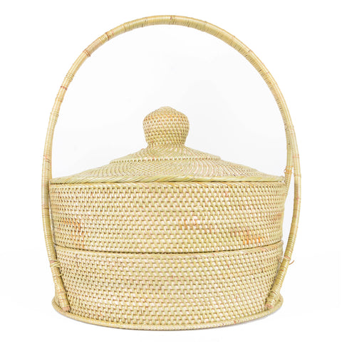 Two-Tier Rinago Compartment Storage Basket - Natural