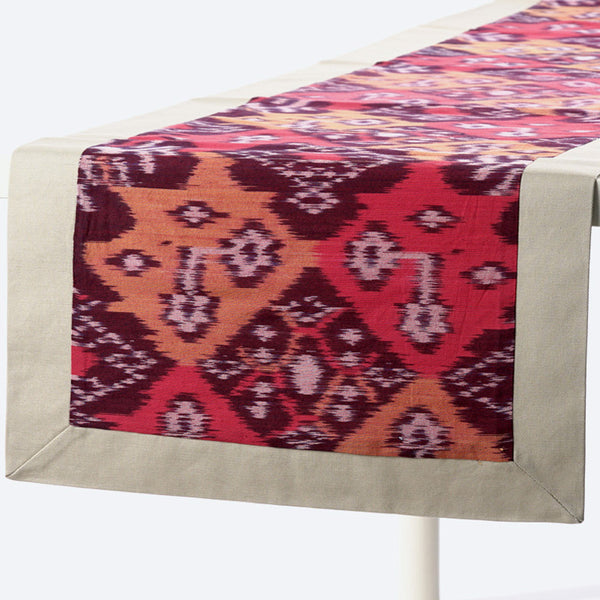 Maroon Ikat Table Runner