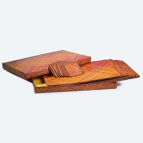 Mengkuang Placemat Set - Orange