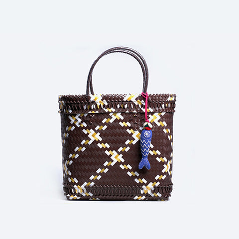 Brown Durian Strapping Basket with tassel